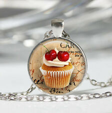 Cupcake Tibet silver Dome Glass Cabochon Necklace chain Pendant #91