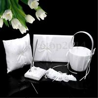 White Wedding Guest Book Pen Set Ring Bearer Pillow Flower Girl Basket Garter