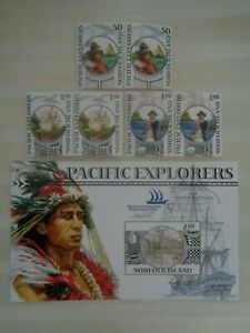 NORFOLK ISLAND 2005 PACIFIC EXPLORERS 3v PAIRS & M/S MLH MINT SG909/MS912