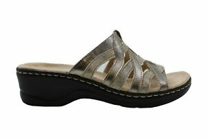 Clarks Womens Leather Peep Toe Mules, Met Combo, Size 6.0 Y4HM