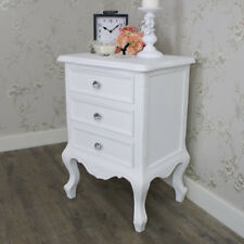 Elise White Range 3 Drawer Bedside Chest French Grey Bedroom Crystal Knob Handle