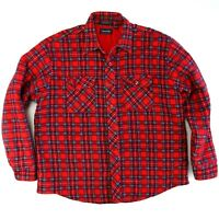 Mens Vintage Ryan Keith Red Plaid Lined Flannel Button Down Shirt Size XL