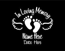 In Loving Memory of Baby Vinyl Decal Sticker with Footprints and Angel Wings
