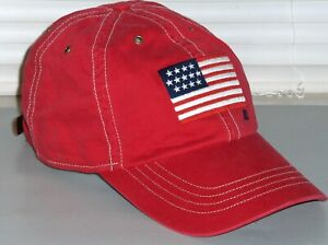 POLO RALPH LAUREN Mens USA Flag Cotton Chino Baseball Cap Hat, Leather Strap RED
