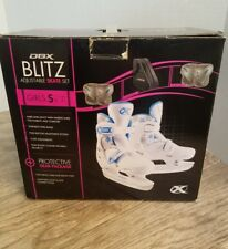 DBX Blitz Adjustable Skate Set GIRLS Size J10-J13 White N.O.