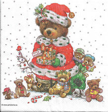 Lot de 4 Serviettes en papier Nounours de Noël Decoupage Collage Decopatch