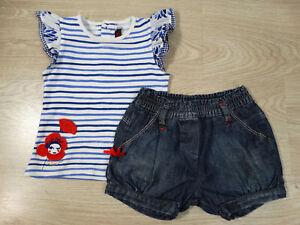 Catimini Designer Girls Top Jean Bourget Denim Shorts Set 2-3 Years Size 3