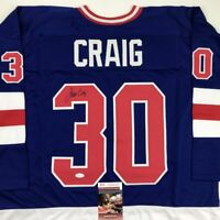 Autographed/Signed JIM CRAIG Blue Team USA Miracle 1980 Hockey Jersey JSA COA