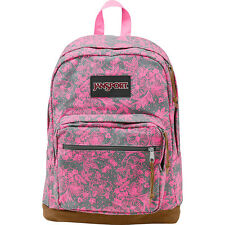 NEW✿ JanSport Right Pack Rucksack Laptop Pouch Pink Lace Grey Shady Vintage