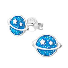 O&S Kinder Ohrstecker Mädchen 925 Silber Ohrringe Glitzer Planet Saturn Geschenk