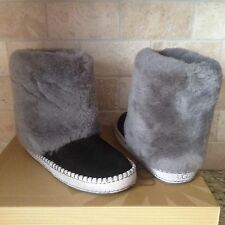 UGG KESTREL BLACK FUR CUFF SUEDE SLIPPERS BOOTS US 5 WOMENS 1007729
