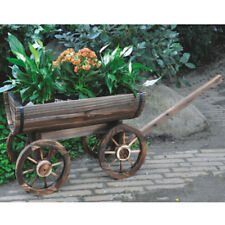 CART - Solid Wood Rustic Garden Flower Planter / Pot - Burntwood ZLY6014B
