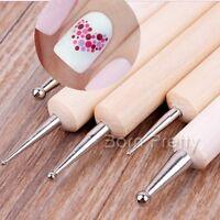 5tlg 2 Weise Nagel Pinsel Dotting Pen Stift Holz Griff Nail Art Dotting Pen