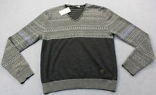 LOVE MOSCHINO Mens BLACK & GRAY STRIPE SOFT 100% VIRGIN WOOL SWEATER NWT L $450