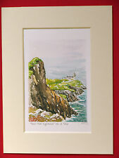 NEIST POINT AND LIGHTHOUSE ISLE OF SKYE CHARMING MOUNTED WATER COLOUR PRINT 8X6
