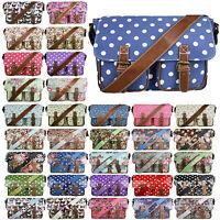 Ladies Oilcloth Satchel Shoulder Handbag Bag School A4 Crossbody Messenger Gifts