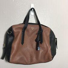 Fossil Sydney Black Brown Pebble Leather Satchel Handbag Purse Bag
