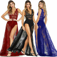 Women Sexy See-through Mesh Lace High Split Sheer Night club Long Maxi Dress