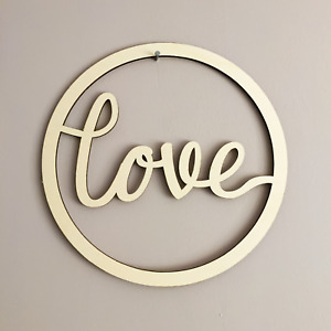 Love Wall Art Hoop Minimalist Design Personalised Sign Circle Name Wall Plaque