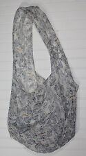 Free People Large Crossbody Tote Bag Lightweight Linen Cloth Blue Paisley  A135