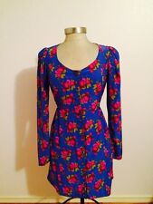 Betsey Johnson Blue Floral Print Button Down Dress Nwt 8