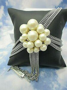 "Laundry by Shelli Segal Silver Tone Multi Chain Bracelet White Faux Pearls 7"""