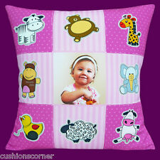 "PHOTO CUSHION COVER ADD YOUR PHOTO Nursery Baby Bedroom Patchwork Girl 16"" Cover"