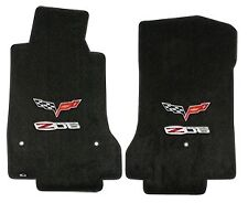 C6 Corvette 2007L Lloyds Ultimat Front Floor Mats Z06 Logo and Crossed Flags