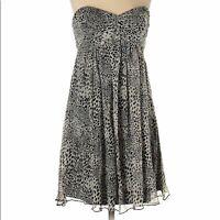 Express Design Studio sz 0 dress sheer silk black & white animal print strapless