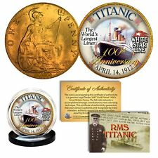 RMS TITANIC *100th Anniversary* Colorized 1900's Gold Clad Britain Penny Coin