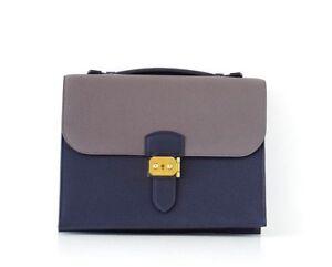 Hermes Sac A Depeche 27 Bag Horseshoe Blue Nuit / Etain Togo Gold