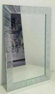 New Elegant Silver Glitter Wall Mirror Stylish Look Living Room Bedroom 40x60cm