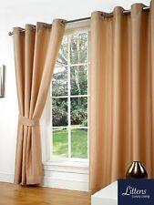 "66"" x 72"" Latte Faux Silk Pair Curtains Eyelet, Ring Top, Lined Inc Tiebacks"