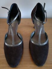 Pre-Owned EASY STEPS 'Opal' Brown Suede Leather Shoes - Size 8 C