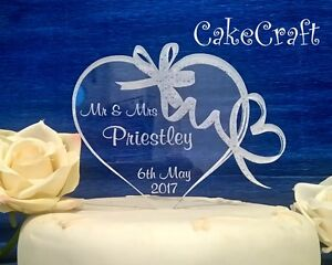 Engraved heart acrylic  Personalised wedding/anniversary cake topper decorations
