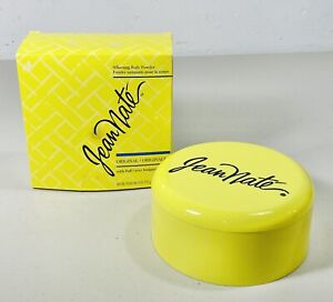 VINTAGE Yellow Box Jean Nate Silkening Body Powder 6oz Ounce Jean Naté WITH PUFF