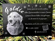 Tier Grabstein Grabplatte Gravur Gedenktafel Grabstein Schiefer Hund 30 x 15 cm