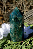 40.4g  SMALL POLISHED BLUE/GREEN APATITE CRYSTAL HEALING WAND Reiki  NORWAY