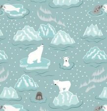 WALRUS & FRIENDS ON ICY BLUE BY LEWIS & IRENE - COTTON FABRIC FQ