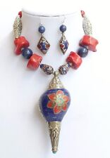 Rare Nepal Conch Shell Inset Beads Coral Lapis Amulet Necklace One of a Kind