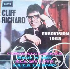 EUROVISION 1968 ESC- cliff richard - congratulations - rare israeli pressing EX