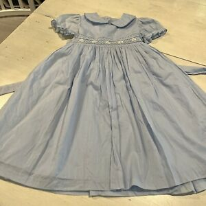 Laura Ashley Girls Blue Size 6X Smocked Dress Embroidered Flowers~~~A3