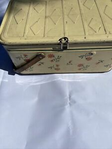 Vintage 1950's  Metal Picnic Basket Tin