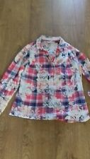 PER UNA CASUAL COTTON BLOUSE TOP MULTI CHECK FLORAL SIZE 12.