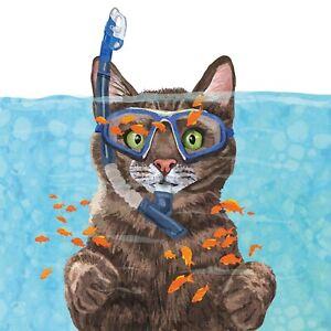 4 x Single Paper Napkins/3PLY/33cm/Decoupage/Cat/Snorkeling Cat/Cousteau