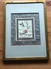 Chinese Art Silk Tapestry Bird & Flowers Framed Asian Art