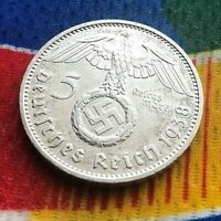 1938 F  5 Mark German WW2 Silver Coin Third Reich  Reichsmark Rare