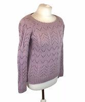 Fat Face Cable Knit Jumper Wool Angora Mix Purple / Pink UK 10