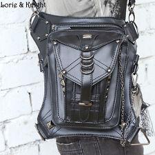 Women/Men Black Steampunk Mini Waistbag Motorcycle Leg Thigh Holster Wallet Bag