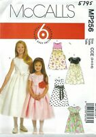 McCall's 5795  Girls' Lined Dresses and Sash  Sewing Pattern